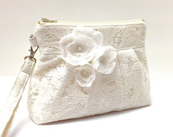 Wedding Clutch Purse Zippered Wristlet Ivory Cream Lace with Flowers LAST ONE