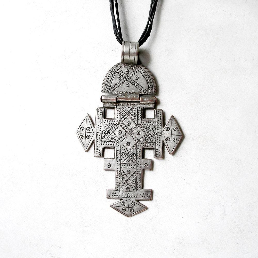 Vintage Silver Coptic Cross Ethnic Tribal Silver Ethiopian