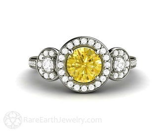 Yellow Sapphire Engagement Ring Sapphire Halo with Conflict Free Diamonds Sapphire Ring 3 Stone Three Stone in 14K or 18K Gold