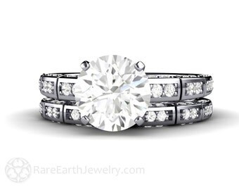 Moissanite Engagement Ring and Wedding Band Platinum Moissanite Ring Soltaire Conflict Free Diamond Alternative Custom Wedding Set