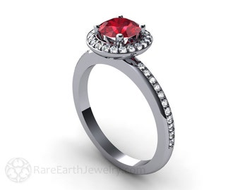 Platinum Ruby Engagement Ring Diamond Halo Ruby Ring Custom Wedding Jewelry July Birthstone