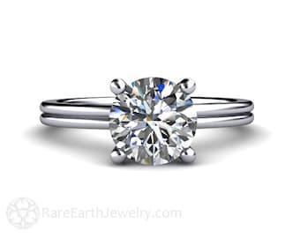 Moissanite Engagement Ring 2ct Moissanite Solitaire Ring Forever Brilliant in 14K or 18K Gold or Platinum