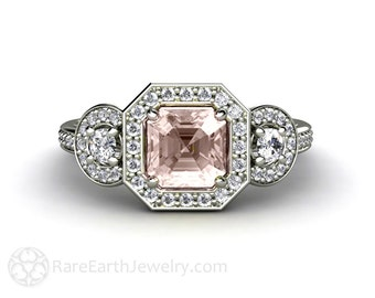 Asscher Morganite Engagement Ring Assher Diamond Halo Morganite Ring 3 Stone Custom