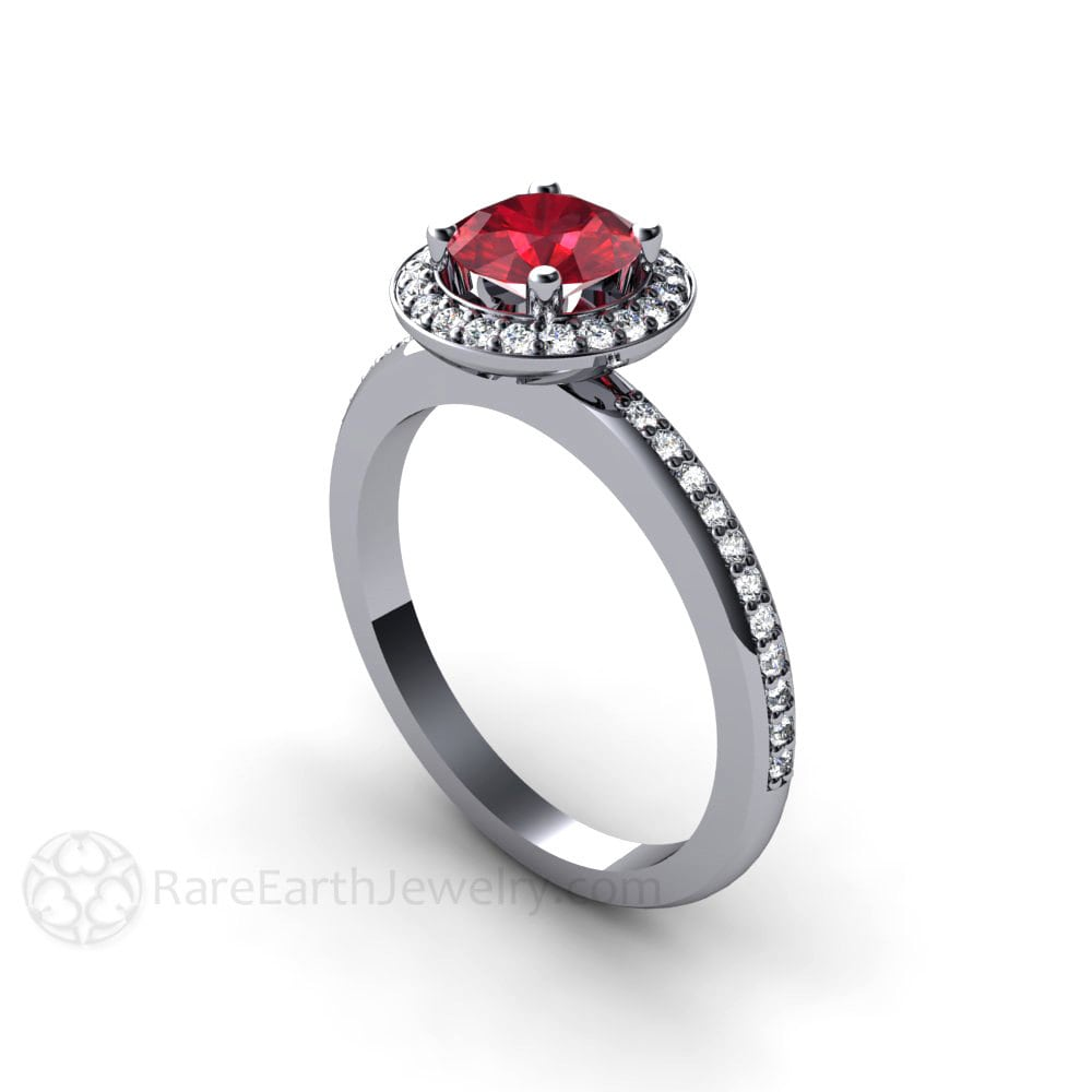 Engagement Ring Diamond Halo Ruby Ring Custom Wedding Jewelry July  Birthstone 🔎zoom