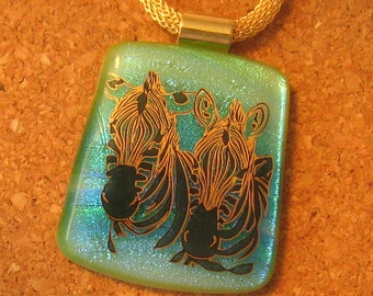 Fused Glass Pendant - Zebra Pendant - Dichroic Pendant - Zebra Jewelry - Fused Glass Necklace - Dichroic Jewelry