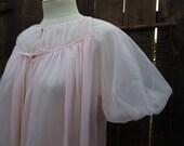 50s Vintage Pink Nylon Robe Gotham Lingerie Vintage Wedding sheer chiffon negligee puffy sleeves M L