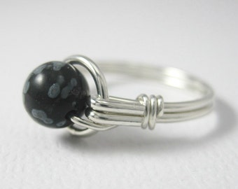 Snowflake Obsidian Wire Wrapped Ring Sterling Silver O Loop -- Any Size