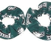 2 Philadelphia Eagles Teal Fabric Hair Scrunchie Tie Ponytail Holders Scrunchies by Sherry NFL Football