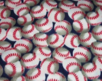 Baseball Fleece Baby Blanket Pet Lap Navy Blue Hand Tied Security