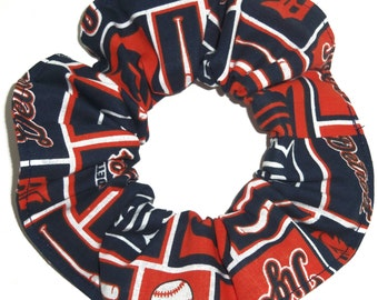 Detroit Tigers Fabric Hair Scrunchie Scrunchies by Sherry MLB Baseball Ponytail Holder Tie