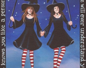 Sisters - 8 x 10 Print of Original Acrylic Painting by Carolee Clark