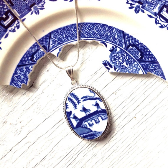 Broken China Jewelry-Willow Pattern-Willow Ware-Blue and White China