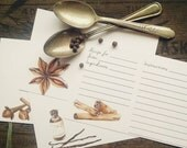 DIGITAL DOWNLOAD Baking Spices Illustrated Watercolor Recipe Cards set of 4