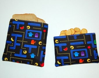 Arcade Games - Eco Friendly Reusable Sandwich and Snack Bag Set