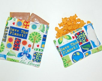Save The Earth - Eco Friendly Reusable Sandwich and Snack Bag Set