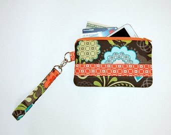 Flourish Floral and Orange Chain  - Wristlet Purse with Removable Strap and Interior Pocket