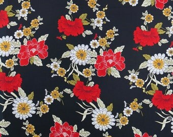 "Vintage Black, Red Asian Inspired Floral Fabric with Gold, White, Green ... CLEARANCE SALE, 58"" wide, sold by the yard ... 1980s"