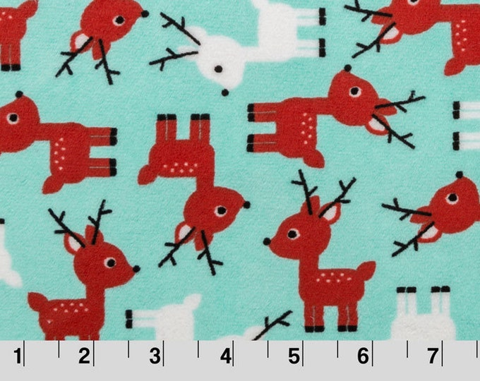 Sale MINKY Fabric, Cuddle Fabric, Baby Boy Fabric, Deer Fabric, Nursery Fabric by Shannon- Reindeer Fabric in Aruba