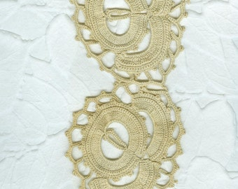 48 Inch Length  Vintage Very Heavy Ecru Hand Crocheted Lace