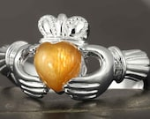 Natural Sunstone Claddagh ring in sterling silver