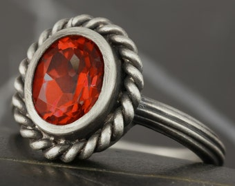Pyrope red garnet antique style solitaire ring in sterling silver