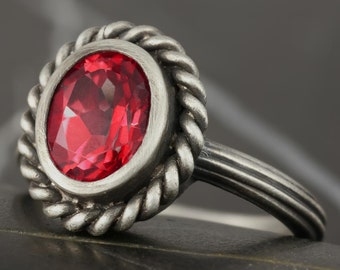 Natural ruby antique solitaire engagement ring in sterling silver - made using antique tools - gypsy, bohemian, boho luxe