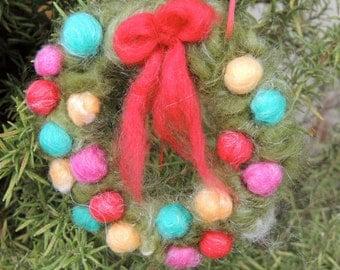 Mini Christmas Wreath Waldorf Needle felted wool fairy angel Waldorf inspired by Rebecca Varon