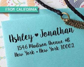 custom ADDRESS STAMP with proof from USA, Eco Friendly Self-Inking stamp, return address stamp, custom stamp, calligraphy designer stamp 213