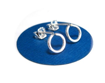 Tiny Circle Stud Earrings- Handmade Silver Studs