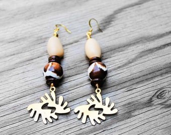 African Earrings, Tribal Earrings, Adinkra Symbol, Adinkra Earrings, African Jewelry, For Her, Bi Nka Bi Brass African Adinkra Earrings