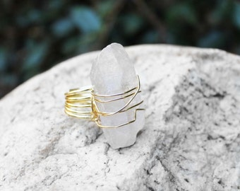 Crystal Quartz Ring, Natural Stone Ring, Wire Wrapped Ring, Statement Ring, Size 8, Cocktail Ring, 7 Crystal Quartz Stone Ring