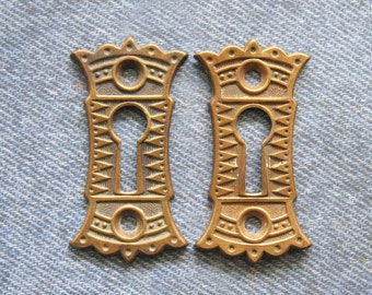Brass Crown Escutcheon Eastlake Furniture Keyhole Set Antique Skeleton Key Armoire Hardware Lock Plates