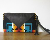 Wrist Bag Wristlet Clutch Purse Chief Joseph Wool Native American Print Black Deer Hide Leather