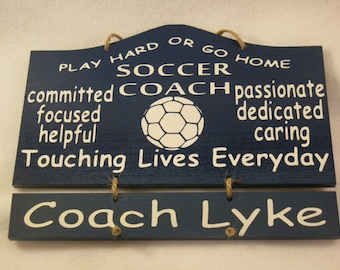 Personalized Wooden Soccer Coach Wall Hanging