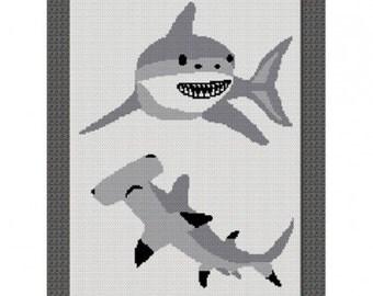 Sharks Great White HammerHead Crochet Afghan Pattern Graph