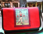 Round One Vintage Firecracker Box Label Red and Black Canvas Courier Bag, Girl Boxer Messenger Bag, Book Bag.