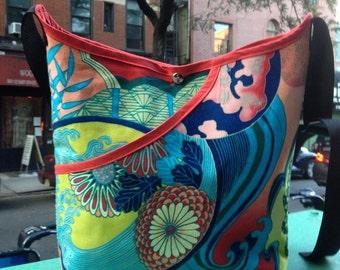 Japanese Asian Bonsai Floral Print Cotton Market Bag, Women's Cotton Floral Print Crossbody Shoulder Bag