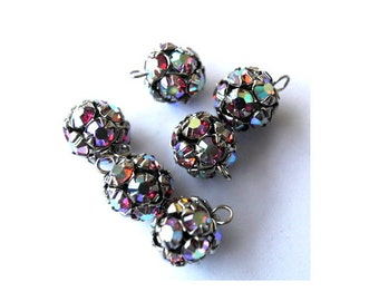 6 Vintage Swarovski crystal ball dangling beads 10mm in brass metal setting