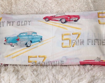 TWO vintage old car classic automobile auto transportation corvette ford usa pillowcases STANDARD child kid bedding room decor