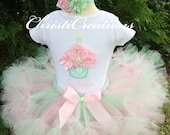 Baby Girl 1st Birthday Outfit - Pink and Mint Petti Tutu - Photo Prop