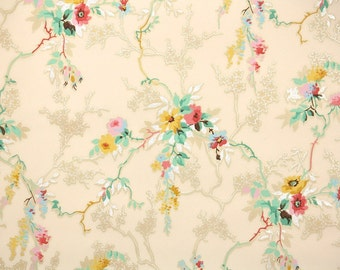 1930's Vintage Wallpaper - Antique Wallpaper with Pink Yellow and Blue Flowers on Pink