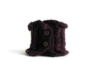 Purple Cowl, Chunky Knit Cowl, Womens Scarves, Short Scarf, Purple Scarf, Neck Warmer, Hand Knit Cowl, Cowl Scarf, Scarf With Buttons, SALE