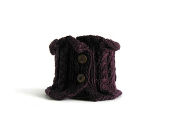 SALE - Scarflette with Cables Knitted in Aubergine Wool