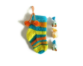 Christmas Stocking, Stocking Stuffer, Cyan and Yellow Sock, Hand Knit Stocking, One of a Kind, Christmas Ornaments, Pom Pom Sock