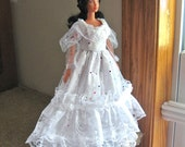 Barbie Dress White Lace Dress with Colorful Polka Dot Sequins