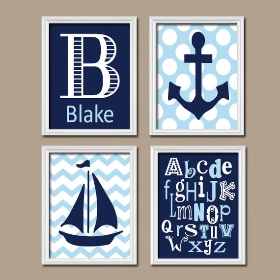 Boy Nursery Wall Art CANVAS Or Prints BOY Nautical Nursery Wall Art