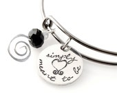 Nightmare Before Christmas Bangle - Simply Meant to Be - Hand Stamped Adjustable Bracelet - Halloween Bracelet