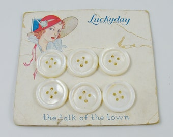 Set of 6 Vintage Mother of Pearl Buttons Luckyday Store Card