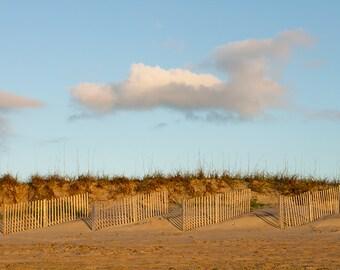 Beach Photography, Sand Dunes Photograph, Dune Fencing, Beach Grass, Sand Fence, Blue Sky, Coastal Art, Beach Cottage Decor - Hello Morning