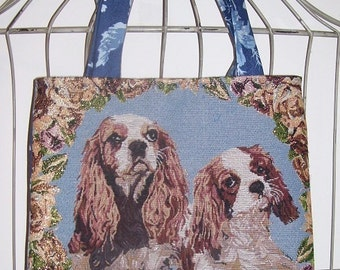 Cavalier Handbag Market Bag Tote purse King Charles Cavalier Spaniel Dog Tapestry w/ Ralph Lauren back panel Monogram included